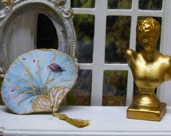"""Ladybug"" Miniature fan style Victorian era - 1/12 scale - accessory from fashion house of Miniature doll"