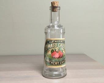Rare Lighthouse-Style Ketchup Bottle with Original Paper Label, Late 19th Century H Wichert Catsup Bottle