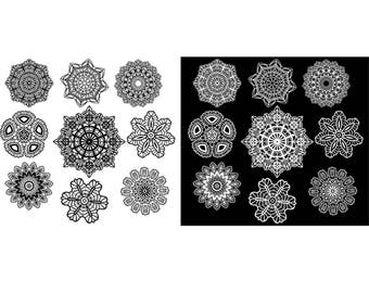 Lace Black and White Clip art Snowflakes Clipart Digital Scrapbooking Elements doily lace pattern Personal and Commercial Use