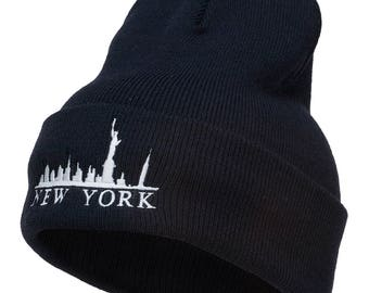 New York Skyline Embroidered Long Beanie