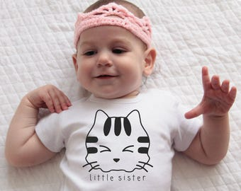 Little Sister Outfit, Coming Home Outfit, Funny Baby Shower Gift, Baby Girl Clothes, Funny Cat Shirt, Kittens Sibling Shirts, Cat Lover