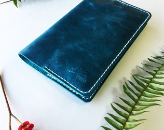 ONE OF-A KIND Handmade Leather Travel Journal and Notebook Cover 8x5 Blue Denim Genuine Leather Handcrafted Mens Womens