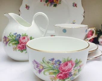 Beautiful Floral Vintage English Bone China Creamer and Sugar Bowl