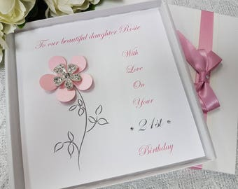 Birthday Card Handmade Personalised Boxed Keepsake  Daughter Granddaughter Niece  Mother Wife 1st 2nd 16th 18th 21st 30th 40th 50th 60th