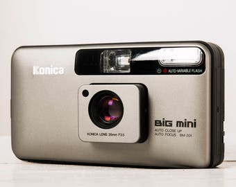 Konica Big Mini + Samples! functional vintage 35mm film camera, lomography, ultra compact street photography point&shoot, Case + Handstrap!