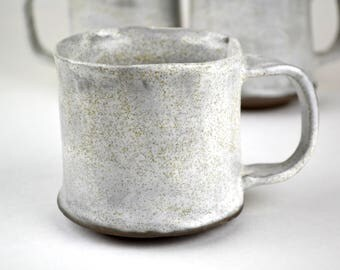 Farmhouse style speckled white handmade pottery mug