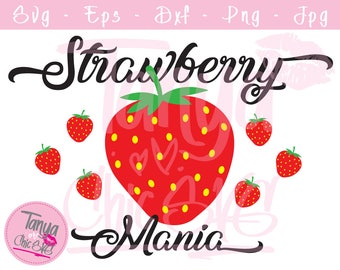 Strawberry mania SVG cut file for Cricut and Silhouette cutting machines Fruit SVG Unique Font