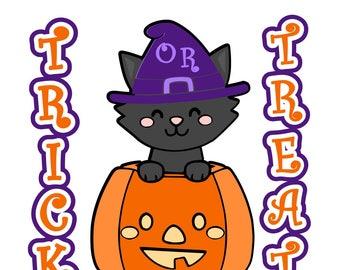 Halloween svg, trick or treat svg, October 31st svg, 31st of October svg, cat svg, pumpkin svg, jack o lantern svg, spooky svg, black cat