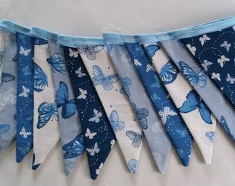 Blue, butterfly, double sided bunting
