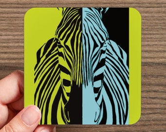 4 Coasters set, zebra coasters set, colored coasters set, colored zebra, zebra pop art,