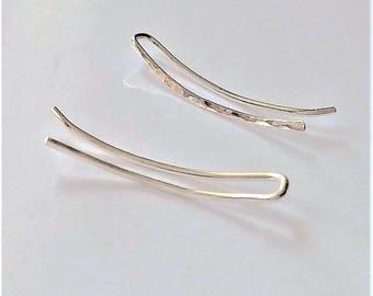 """1"""" Sterling Silver Climber Earrings, Ear Climbers, Ear Jackets, Hammered Earrings, Silver Ear Pins, Minimalist Earrings, Modern Earrings."""