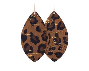 Cork Leopard Leather Earrings, animal print leather earrings, brinley and co