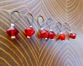 SALE | Snag Free Stitch Markers | Glass Bead Stitch Marker | Stitch Marker | Knitting Accessories | Crochet Tools | Red Black Gold