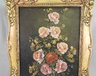 original oil on canvas,style Life , with roses ,signed ,gilt framed