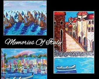 "SALE MEMORIES OF Italy Postcard Set Of 3 Art By Scott D Van Osdol 4x6"" Of My Originals Ready To Frame Seascape Monet Calm Seas Coastal Italy"