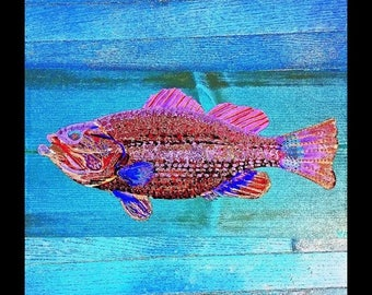 SALE LARGEMOUTH BASS Colorful Fishing Fish Cabin Lodge Home Decor Abstract Art Print Scott D Van Osdol 11x17 Poster Of My Original Ready To