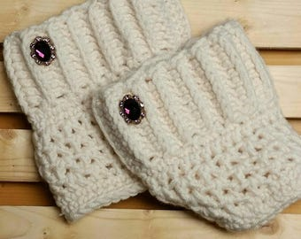 Cream Ribbed Boot Cuffs