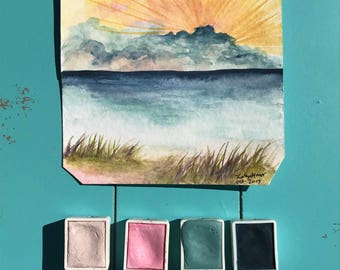 Beach painting, watercolor, summer, beach, original painting, turquoise, ocean, sea, coast, coastal, nautical, paint, birthday
