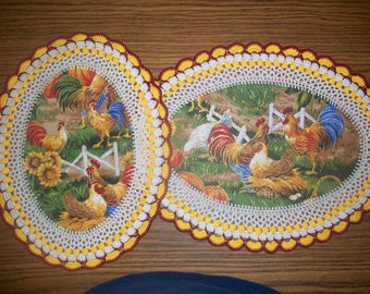 Set of 2 New Handmade Crochet Doilies/Roosters & Hens/Chickens/Sunflowers/Kitchen and Fall Decorations