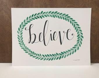 Believe, Watercolor Print, Christmas Art, Christmas Decor, Inspirational Quote