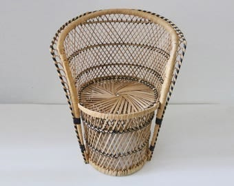 1970s Small Size Childu0027s Wicker Rattan Chair