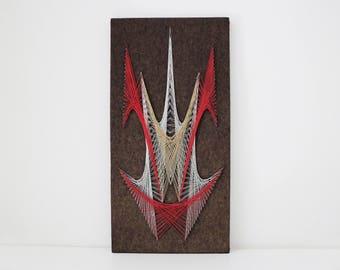 1970s abstract string art thread art large glitter lurex metallic thread on wood and felt background 61cm x 31cm