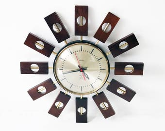 Rare teak atomic starburst clock by Smiths 1960s
