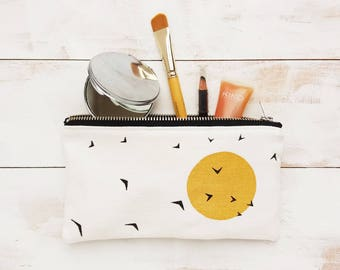 Handmade organic cotton mini makeup pouch / pencil case