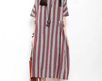 Women linen summer dress asymmetrical tunic dress casual dress comfortable dress plus size clothing with striped