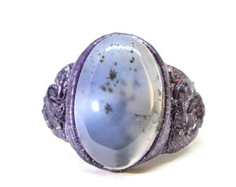 dendritic quartz ring, Leather ring with dendritic agate, gemstone ring, dendritic opal ring