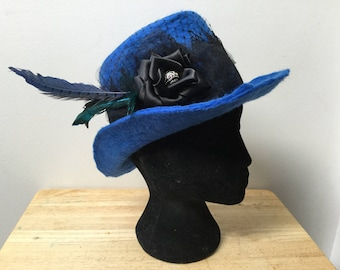 Goth inspired top hat wet felted with lace feathers ribbon flower bead netting for cosplay or larp event blue black pet and smoke free