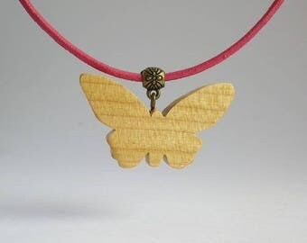 Cherry and pink leather Butterfly pendant