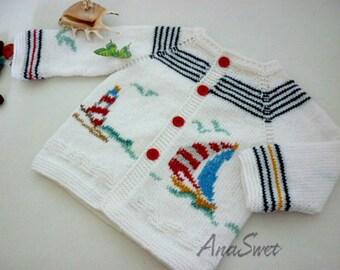Hand knit baby cardigan .White cardigan.Summer cardigan.