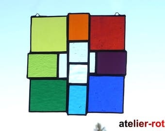 Tiffany window picture, Rainbow, stained glass, stained glass panel