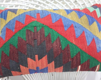 16x24 geometric coloral kilim pillow cover throw pillows 16x24 tissu azteque moroccan lumbar pillow rustic pillow geometric cushion 1388