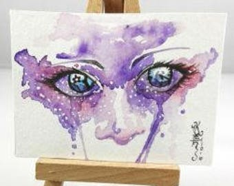 Original watercolor ACEO cocoa card eyes purple hand-signed portrait