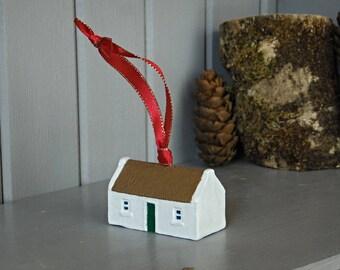 Irish Christmas gift. Tree ornament Irish Thatched cottage. Christmas tree decoration . Handmade in Ireland.