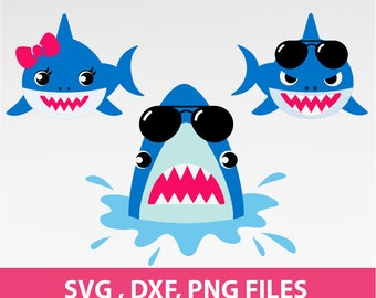 "Shark SVG, shark with sunglasses Svg, shark with bow Svg, Jaws svg. DXF, PNG Formats, 8.5x11"" sheet, Printable 0075"
