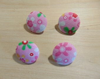 4 x buttons 19mm pink flowers TOUR12 fabric