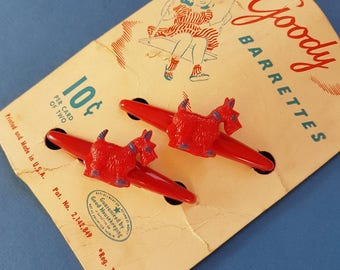 "Vintage ""Goody"" novelty Terrier barrette hair clips"
