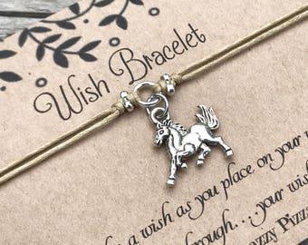 Horse Wish Bracelet, Make a Wish Bracelet, Wish Bracelet, Friendship Bracelet, Minimalist Jewelry, Horse Bracelet, Gift for Her, Horse Lover