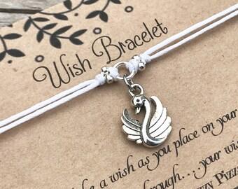 Swan Wish Bracelet, Make a Wish Bracelet, Swan Bracelet, Wish Bracelet, Friendship Bracelet, Bird Bracelet, Gift for Her, Swan Jewelry