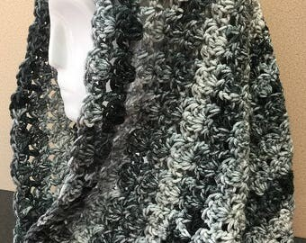 Black and Gray Hooded Cowl, Shell Stitch Cowl, Hooded Cowl, Black Cowl Scarf, Crochet Cowl Scarf, Winter Cowl, Gifts for Her, Cowl Scarf