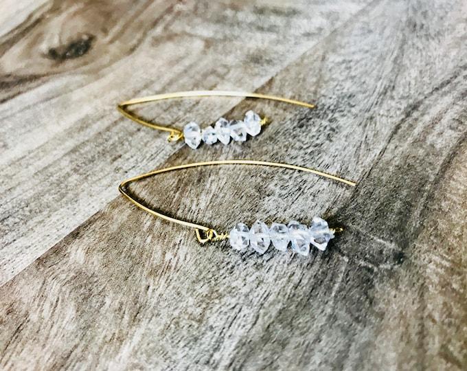 Herkimer Diamond Cocktail Threader Earrings