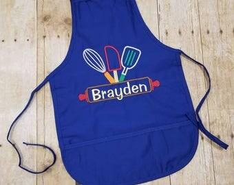 Kids personalized apron, child apron, Kids Easter Apron, personalized apron, boy apron, girl apron, kids apron, rolling pin, chef, kid