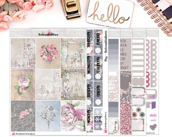 Vintage Love Planner Stickers / Erin Condren Vertical Weekly Stickers / Full Kit