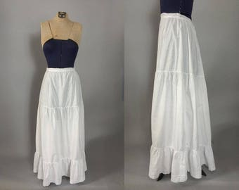 Vintage Victorian Edwardian 1900s white cotton ruffled petticoat / antique skirt / extra smal XS