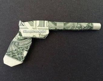 GUN Money Origami - Pistol Revolver Handgun Piece Rifle Shotgun Glock Weapon made of real Dollar Bills
