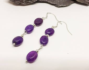 Agate Earrings, Purple Earrings, Handmade Earrings, Sterling Earrings, Gemstone Earrings, Drop Earrings, Bead Earrings, Dangle Earrimgs