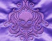 Purple Satin mini-tote bag with damask skull design